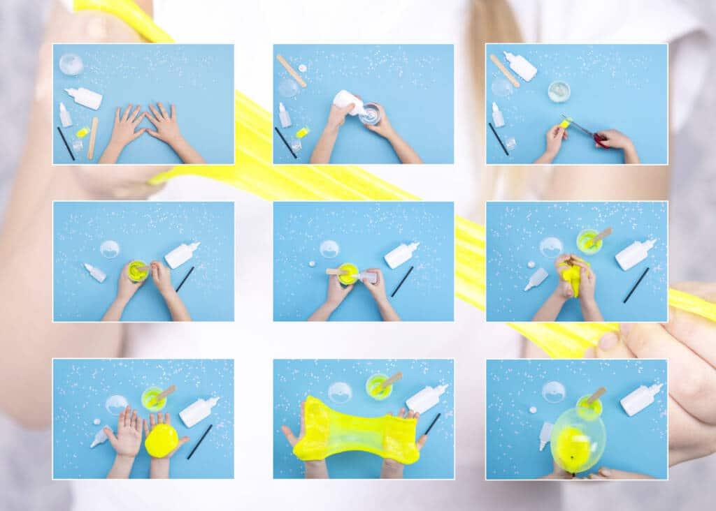 Slime mit Kontaktlinsenlösung DIY Anleitung